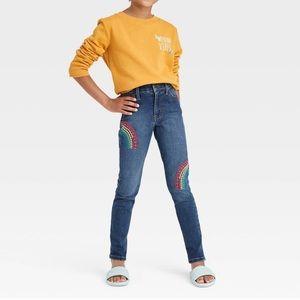 Cat & Jack Adjustable Waist Rainbow Jeggings Jeans